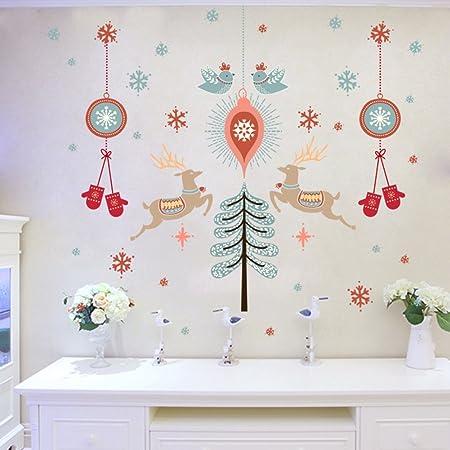 Pegatinas para la habitación de pared,Navidad ambiente etiqueta vidrio puerta corredera etiqueta engomada de la ventana tienda pegatinas arreglar vestido de apliques de adorno-A 90x60cm(35x24inch): Amazon.es: Hogar