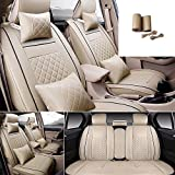 FLY5D 9Pcs Universal Fit PU Leather 5-Seats Auto Car Seat Cover Cushion Front Rear Seat Cover for Honda Accord/Civic Toyota Camry/Corolla Lexus ES350/ES240 (Beige L)