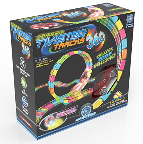 Flexi Track - Mindscope Twister Tracks Trax 360 Loop 13' (feet) of Neon Glow in the Dark Track with One Light-Up (Pulse LED) Vehicles Sports Car Series