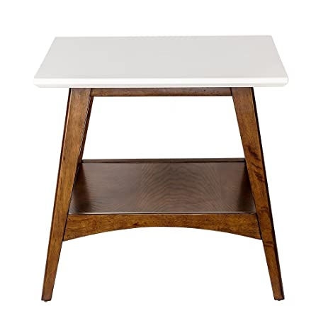 Mid Century Modern Accent End Side Table In White And Pecan Wood Finish