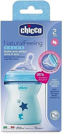 Chicco NaturalFeeling - Biberón con tetina inclinada especial para lactancia mixta, flujo medio, 250 ml, 2 m+, azul