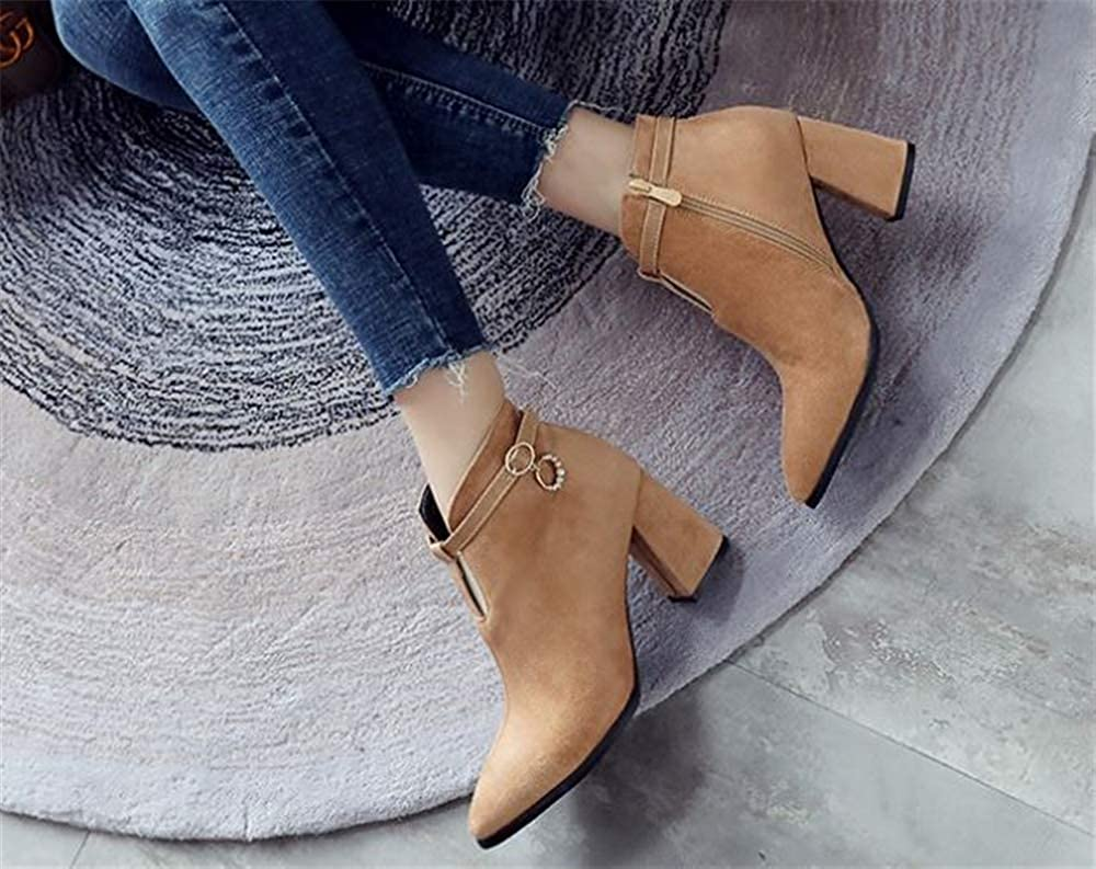 Womens Chunky Heel Ankle Booties Side Zipper Western Boots Shoes