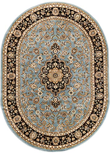 Well Woven Barclay Medallion Kashan Light Blue Traditional Area Rug 5'3