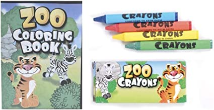 48 pc zoo animal party favors 24 coloring books 24 boxed crayons easter basket filler