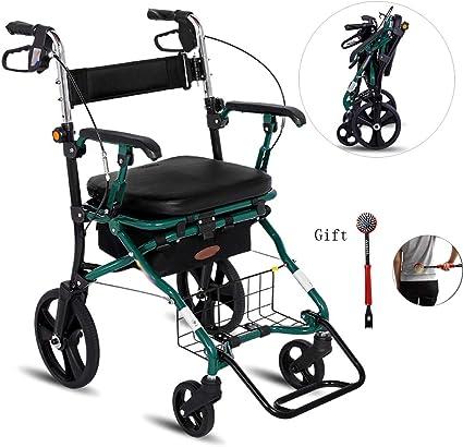 KEXINGQI Deambulatore per Adulti con Sedile e Ruote Sedia per Trasporto a rulli con Sedile per braccioli per Carrello Spesa Alimentare Portatile