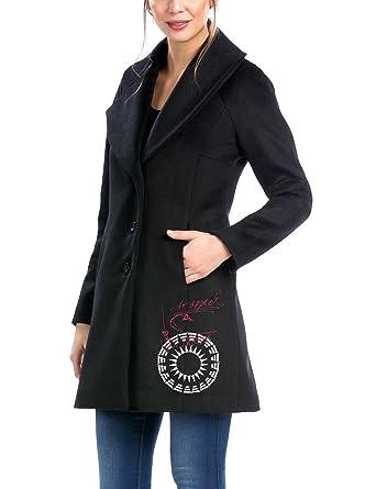 Desigual ABRIG_BLACKVILLE - Abrigo para Mujer, color Negro, talla 38 (talla del fabricante