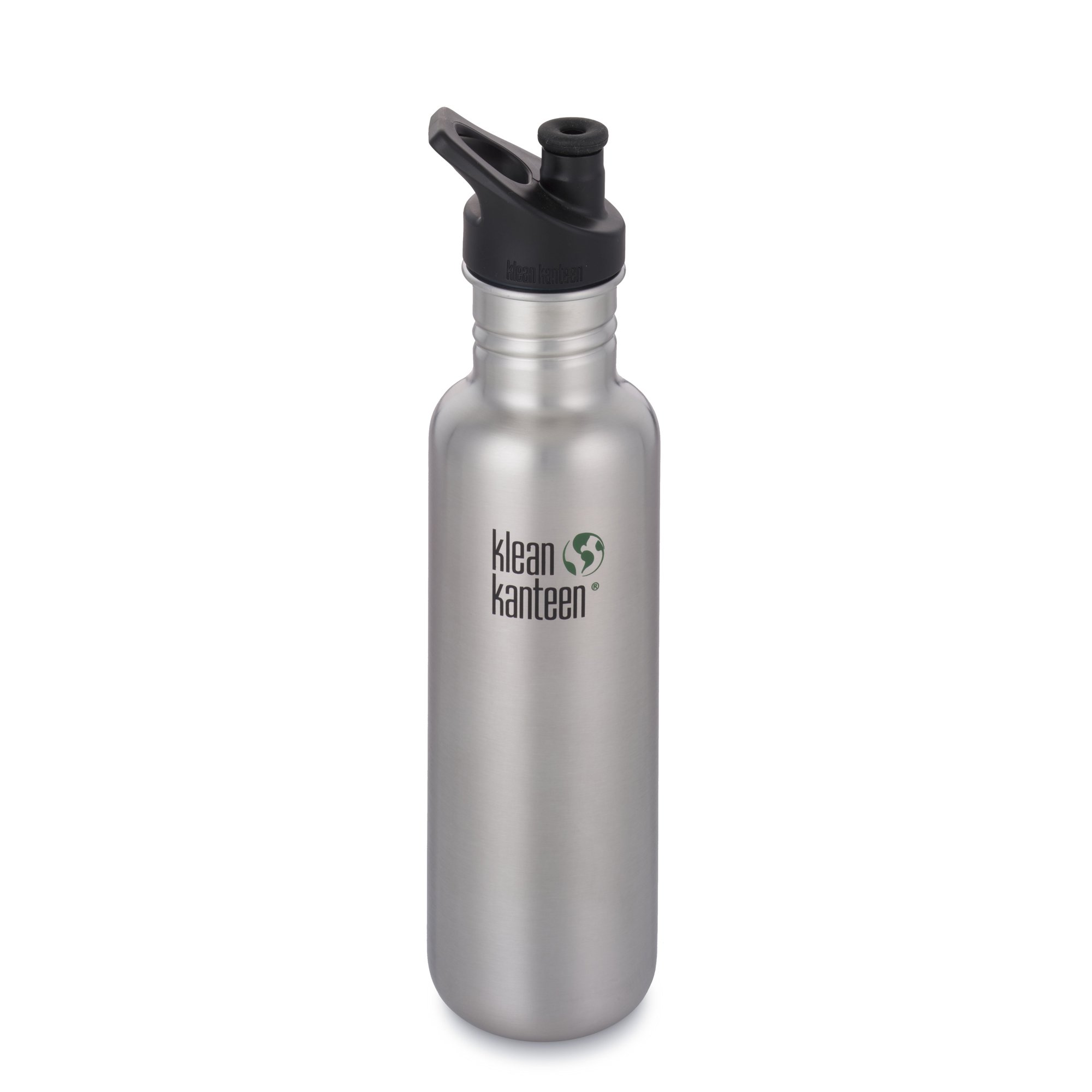 Klean Kanteen Classic Stainless Steel Bottle with Sport Cap, Brushed Stainless - 27oz