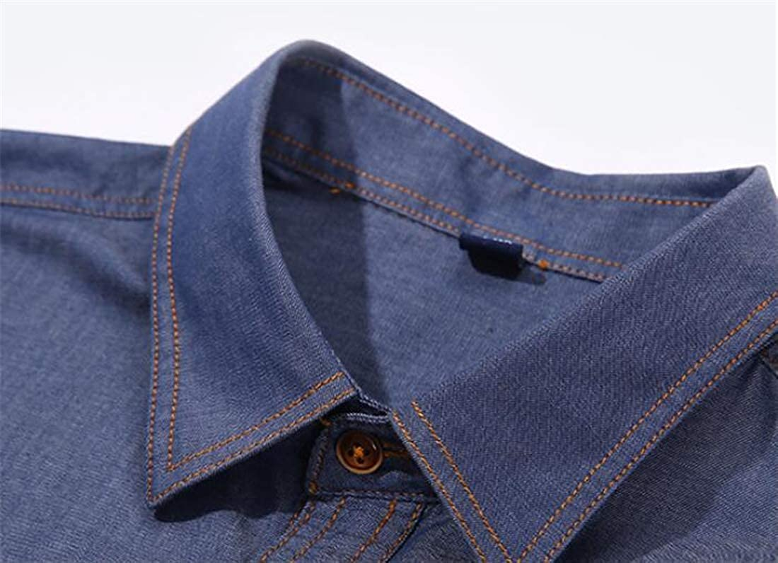 Zantt Mens Casual Flap Pockets Single Breasted Cotton Solid Color Long Sleeve Faux Denim Shirts
