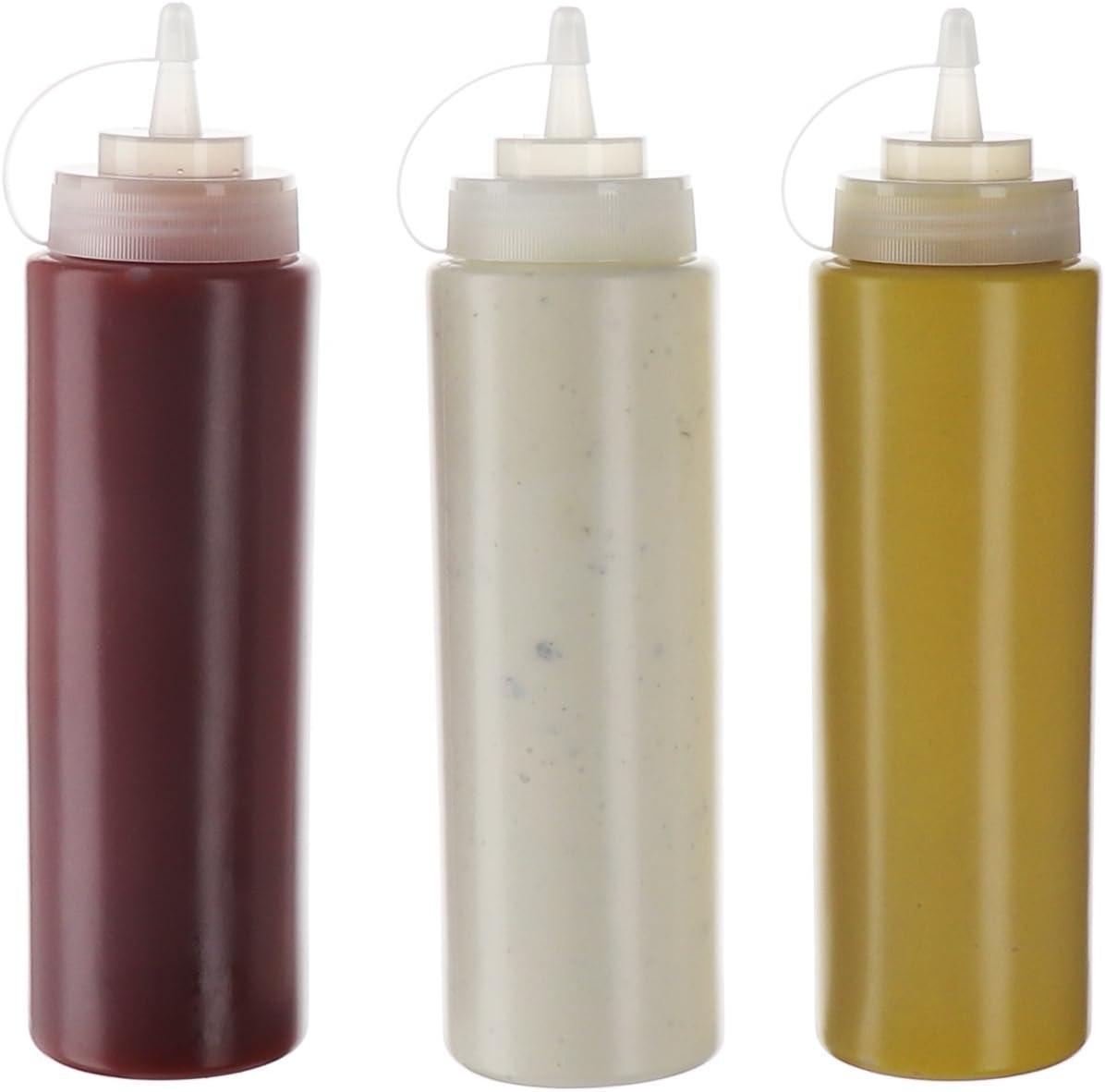 1PC 8-24oz Plastic Refillable Squeeze Squeezy Sauce Dispenser Bottle Bottle K0O4