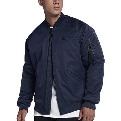 ec3ec3b834e75f Jordan Men s Sportswear Wings MA-1 Jacket Midnight Navy Black (Medium)
