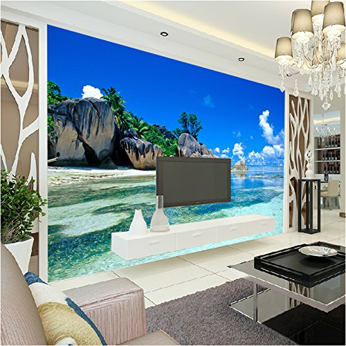The back wall of the 3D bedroom ocean view wallpaper sofa bedroom marriage room landscape paintings 200cmX150cm
