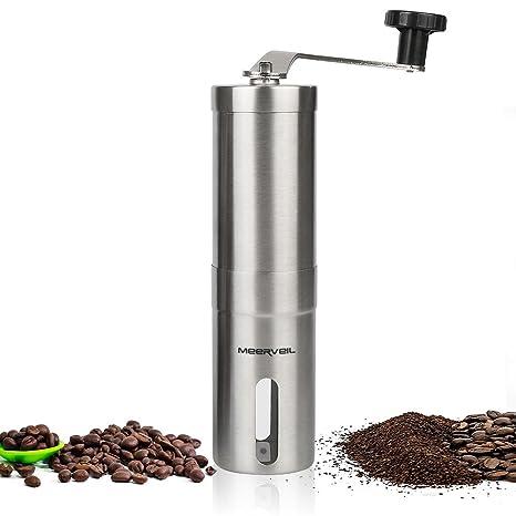 Molinillo de café manual, meerveil hecho a mano granos de café máquina molinillo pimienta molinillo