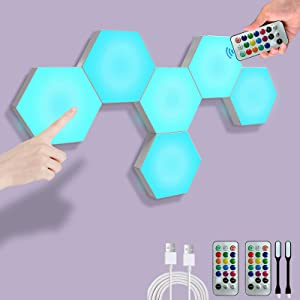 Remote Control Hexagon Lights, Smart DIY Hexagon Wall Lights, Dual Control Hexagonal LED Light Wall Panels with USB-Power, Geometry Hex Lights Touch Used in Game Room Decor, Party (6-Pack)