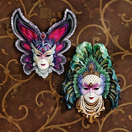 Design Toscano Inc Maidens of Mardi Gras Wall Mask Sculptures Butterfly Maid…