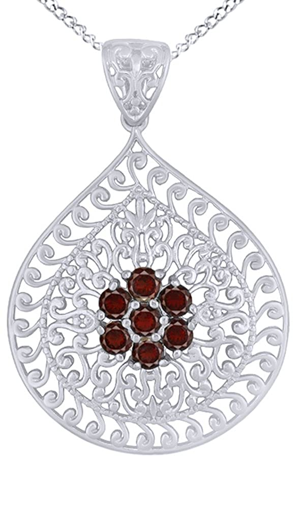 1.12 Cttw AFFY Simulated Red Garnet Filigree Pendant Necklace in 14k Gold Over Sterling Silver