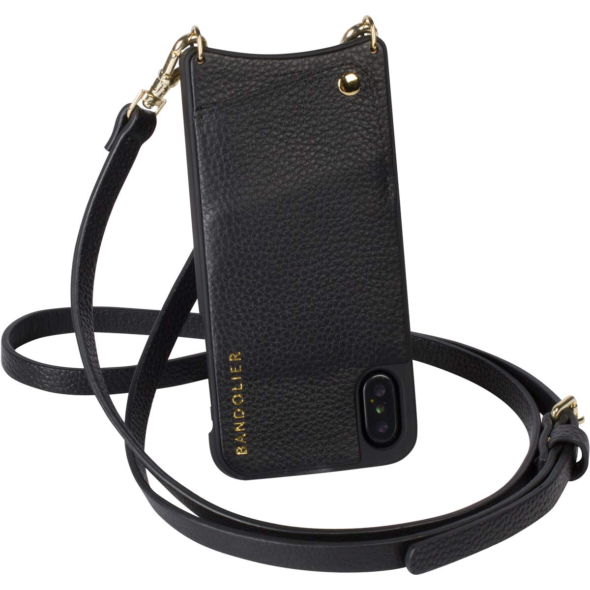 Bandolier [Emma] Crossbody Phone Case and Wallet - Compatible with iPhone X & XS - Black Pebble Leather with Gold Detail by Bandolier