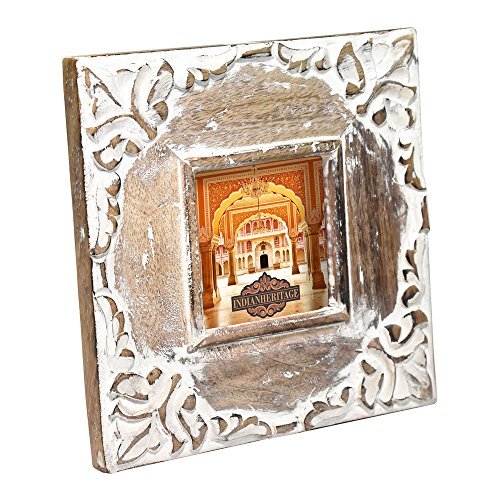 Indian Heritage Wooden Photo Frame Carved Mango Wood Design in Dark Wood with White Distress Finish (Indian Antique)