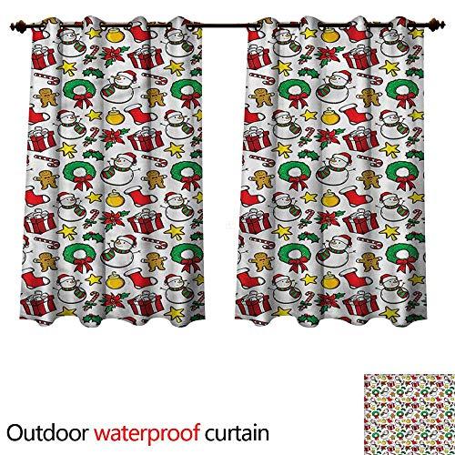 cobeDecor Christmas 0utdoor Curtains for Patio Waterproof Wreath Candy Cane Snowman W55 x L72(140cm x 183cm) (Christmas Wreath Kohls)