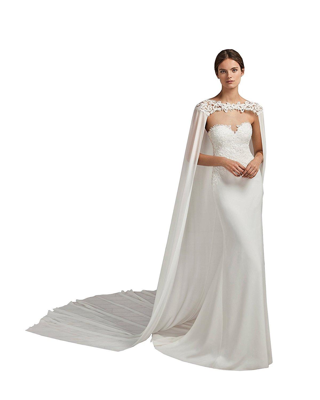 Cibelle Womens Lace Appliques 3 Meters Long Chiffon Wedding Cloak Bridal Cape White