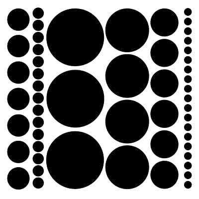 Assorted Size Polka Dot Decals - Repositionable Peel and Stick Circle Wall Decals for Nursery, Kids Room, Mirrors, and Doors (Black): Home & Kitchen