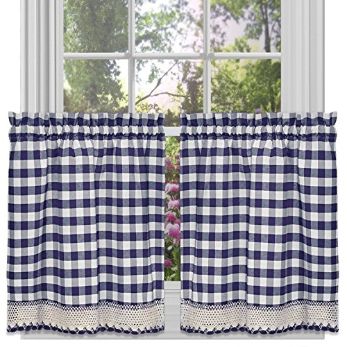 Achim Home Furnishings Buffalo Check Tier Pair, 58-Inch by 24-Inch, Navy