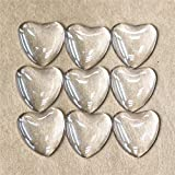 ZHU YU Chun 50 Pcs Heart Transparent Glass Cabochons, Heart Shape Clear Glass Cabochon for Photo Pendant Craft Jewelry Making (25mm/1 inch)