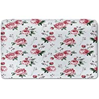 Memory Foam Bath Mat,Rose,Blooming English Rose Watercolor Painting Style Garden Shabby Chic Wild FlowersPlush Wanderlust Bathroom Decor Mat Rug Carpet with Anti-Slip Backing,Reseda Green Pink