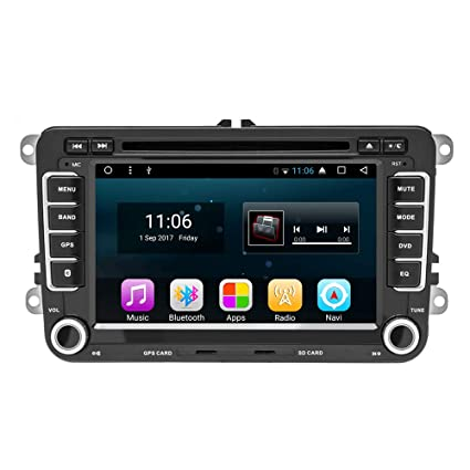 podofo - Radio de Coche para VW Android 7.1 estéreo RDS GPS, cámara de visión Trasera/Espejo Link/DVR/FM/Am, Doble DIN, con CANBUS para ...