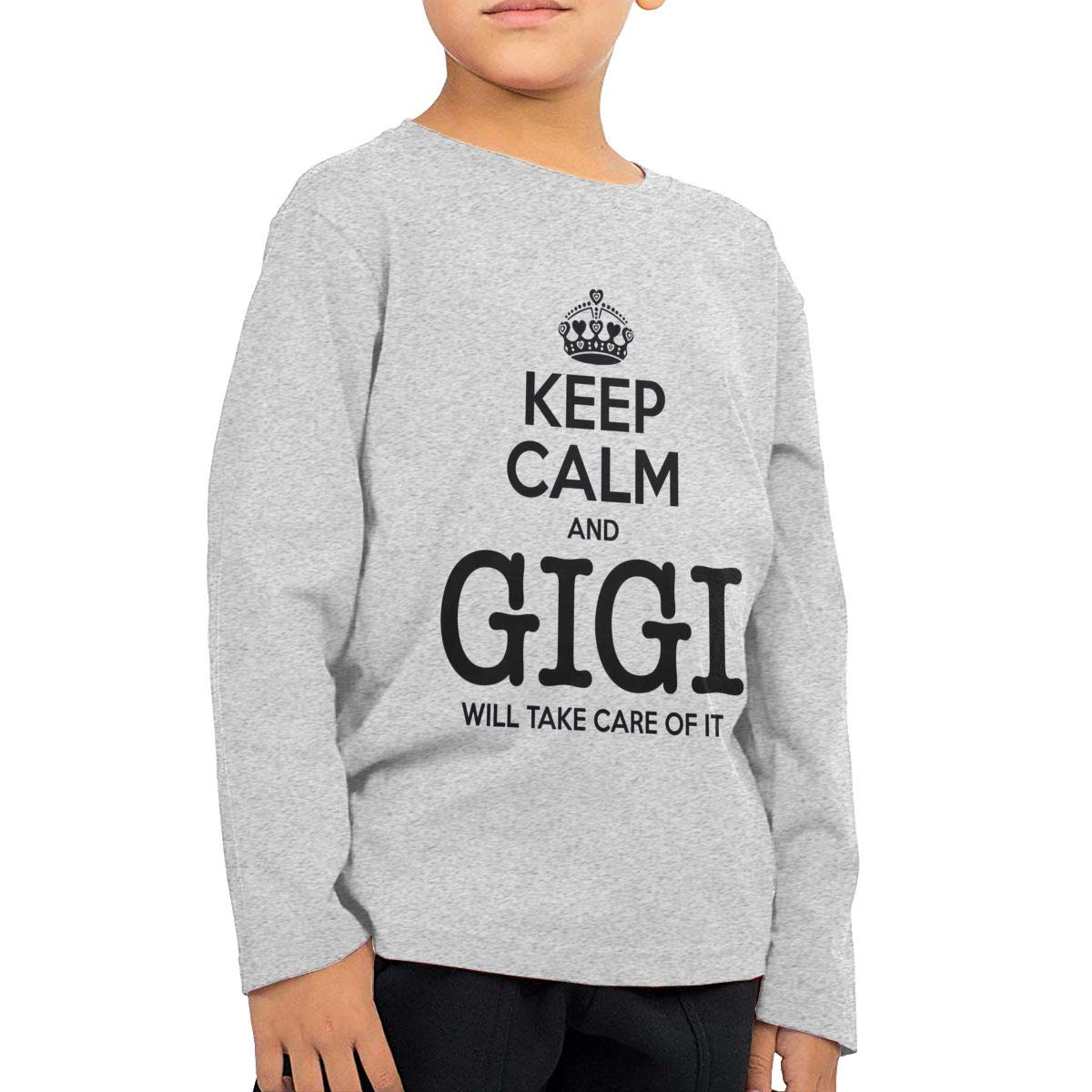 WCHUNMU Keep Calm Gigi Will Take Care of It Childrens Cotton Gray Long Sleeve Round Neck Boys Or Girls T Shirt