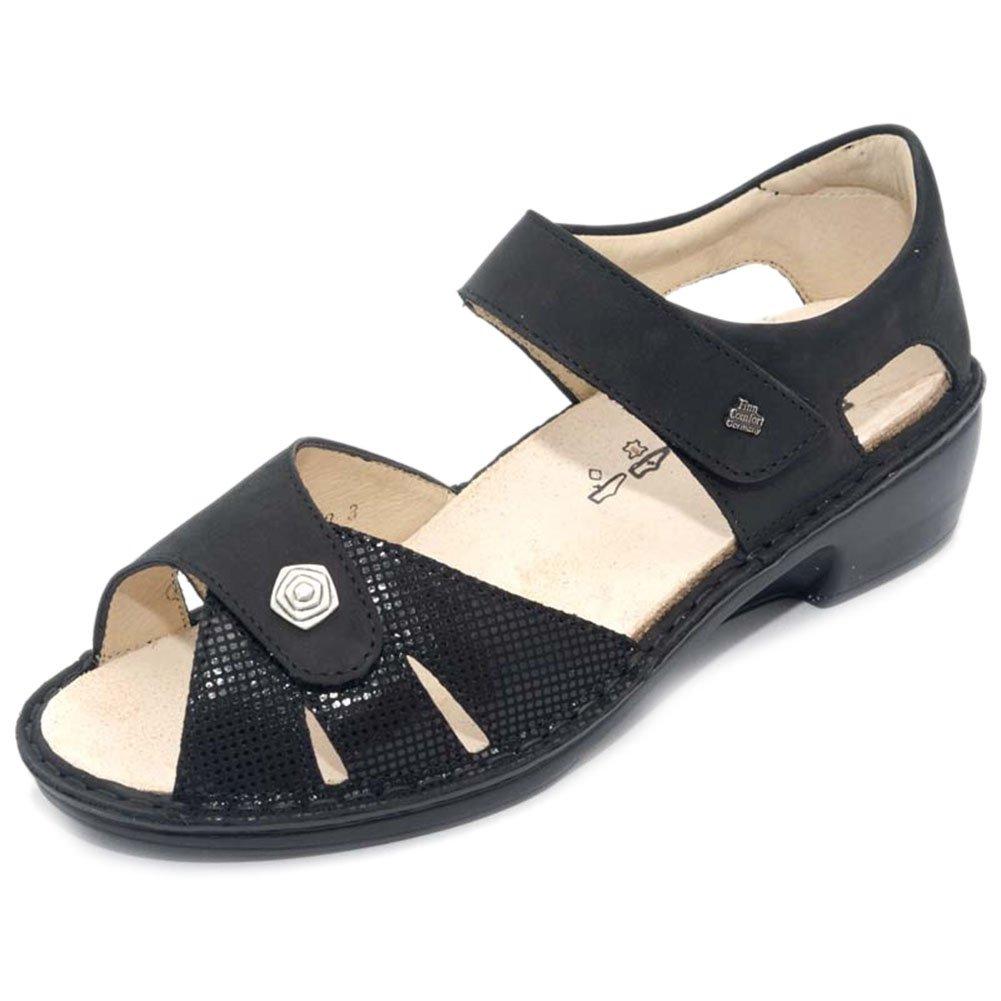 Finn Comfort Women's Easton Ankle Strap Sandal,Black Points/Buggy,UK 4.5 M