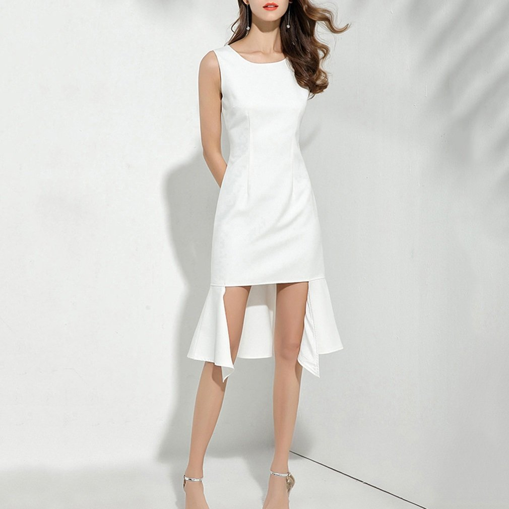 Vestido de mujer Vestido de mujer Blanco Autocultivo Damas Temperamento Cola de pescado Vestidos sin mangas Fiesta de Boda / Noche ( tamañ o : S ) YAN