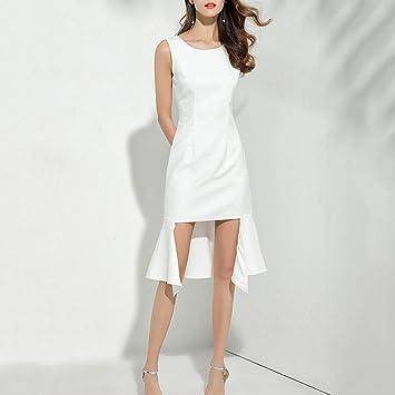 Vestido de mujer Vestido de mujer Blanco Autocultivo Damas Temperamento Cola de pescado Vestidos sin mangas