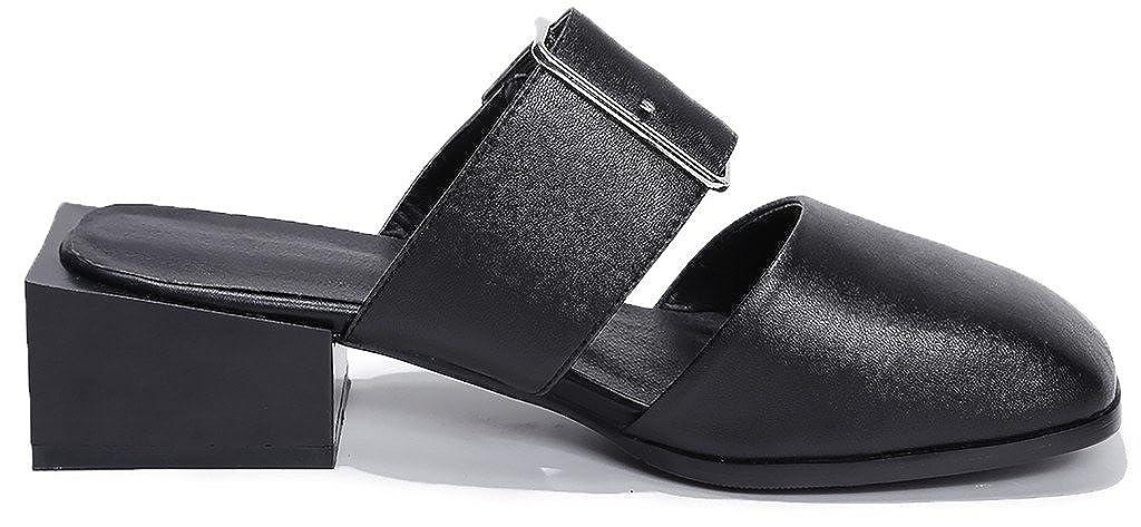 Calaier Schwarz Damen Caonce 4.5CM Blockabsatz Schlüpfen Pantoletten Schuhe Schwarz Calaier 50e6b1