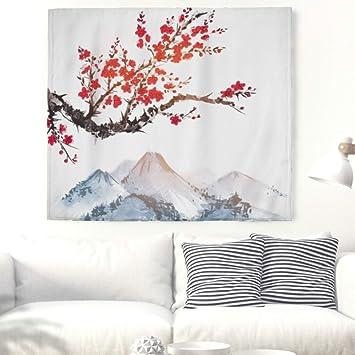 Flores de cerezo Montañas pared Alfombra japonés marelei pared adornos pared toalla pared de tapiz mantel Toalla de playa 200x150cm: Amazon.es: Hogar
