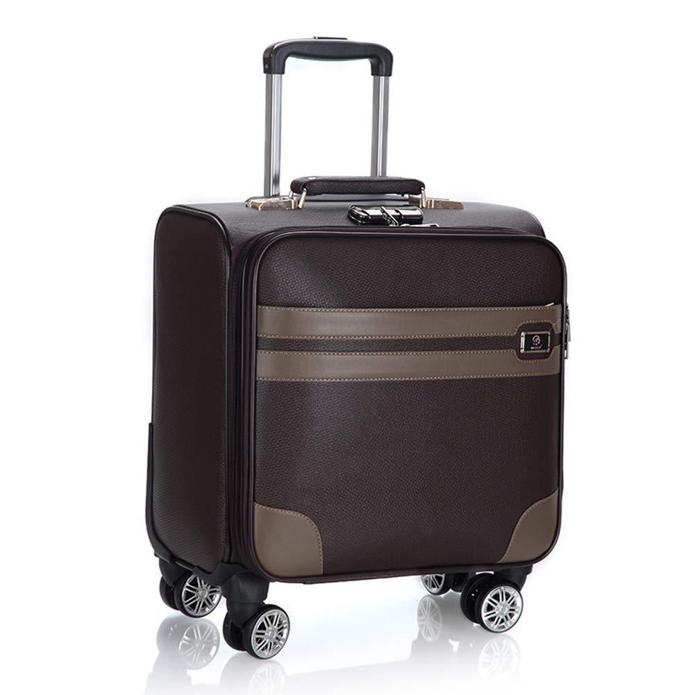 ライアンエアー、Easyjet、ブリティッシュエアウェイズ、バージンアトランティック、フライビー、その他多くのために承認された、4つの車輪、ラップトップコンパートメントトロリーバッグとキャビン手荷物スーツケースで18インチPVC防水旅行を運ぶ。 B07KV1HG2L Brown