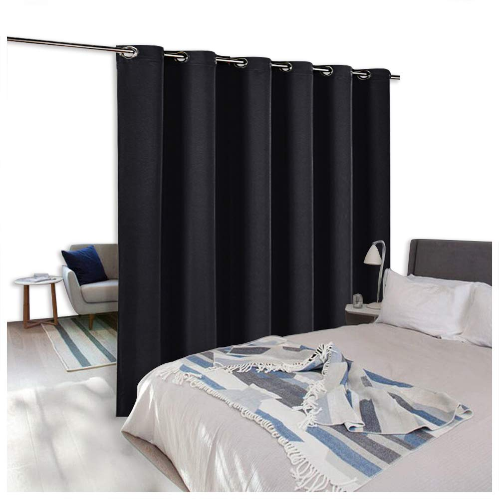 NICETOWN Privacy Room Divider Drape - Extra Wide Grommet Top Space Divider Blackout Curtain Panel For Apartment, Studio (8ft Tall x 10ft Wide,Beige) NICETOWN_Room_Divider