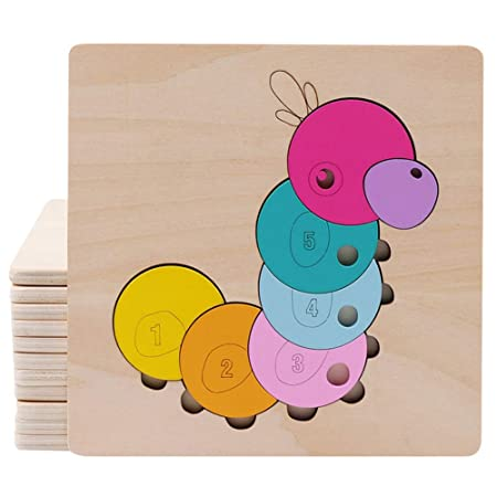 FidgetGear Cartoon Wooden Jigsaw Puzzles for Kids Toddlers Animal Puzzle Blocks Educational Toy for Boys Girls Caterpillar