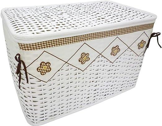 Baúl de mimbre y ratán para colada 56 x 30h33 blanco forrado con decoro flores recipiente caja puerta Tutto Giochi vestidos para casa habitación salón: Amazon.es: Hogar