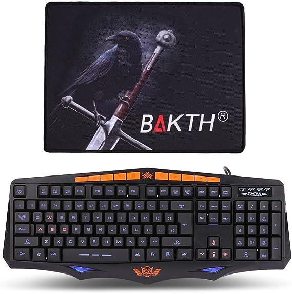 BAKTH Gaming Teclado Ergonómico Diseño Ajustable 3 colores de retroiluminación Caracteres con retroiluminación (interfaz USB, Teclado de EE.UU. QWERTY ...