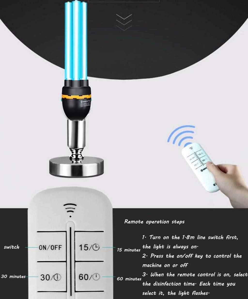360 ° sin ángulo Muerto Control Remoto casero UV lámpara de desinfección lámpara UV lámpara de eliminación de ozono lámpara germicida móvil: Amazon.es: Hogar