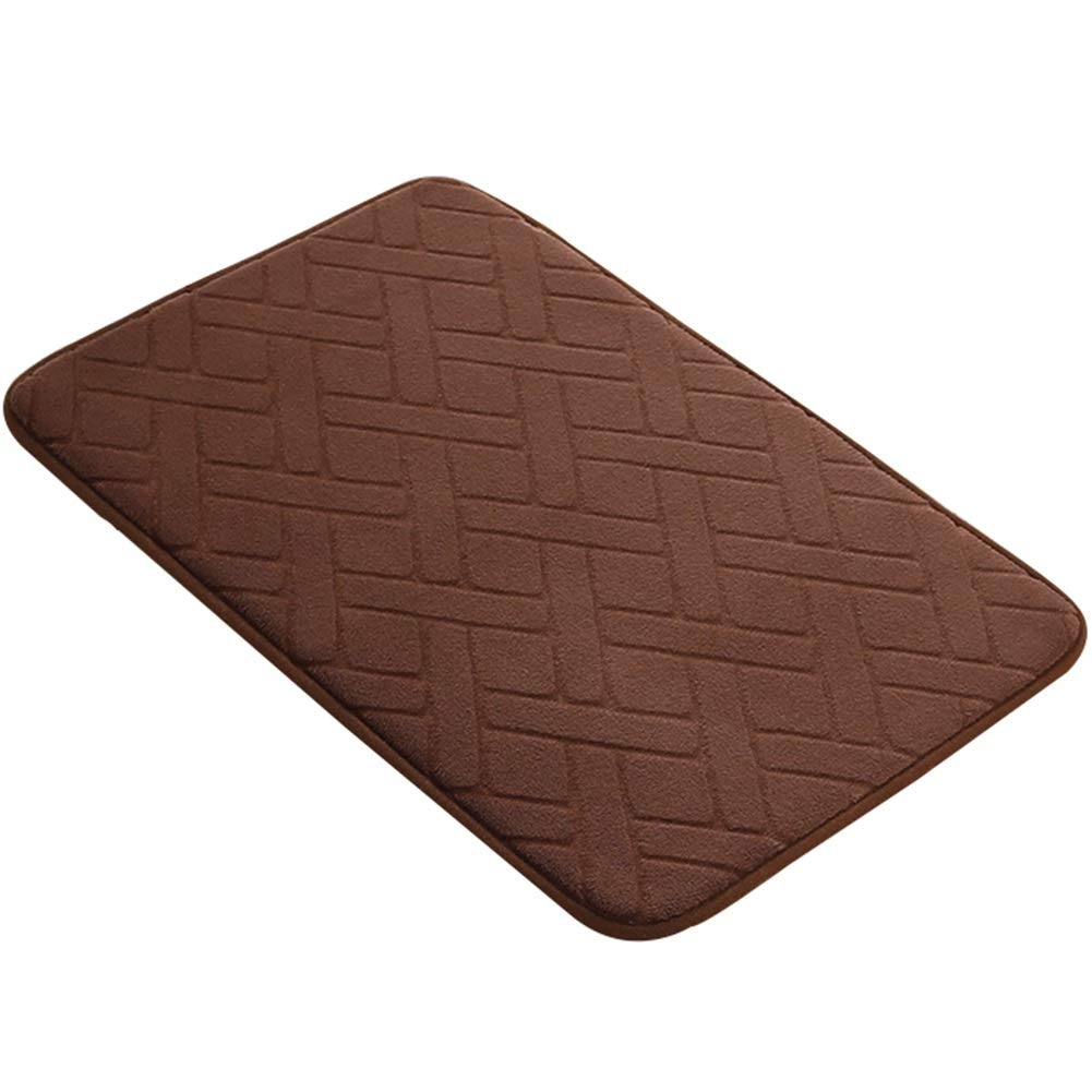 WHAIYAO Bathroom Mat Water Absorption Non-Slip Coral Velvet Surface Remove Odor Durable and Washable, 5 Colors, 4 Sizes (Color : Brown, Size : 90x60cm)