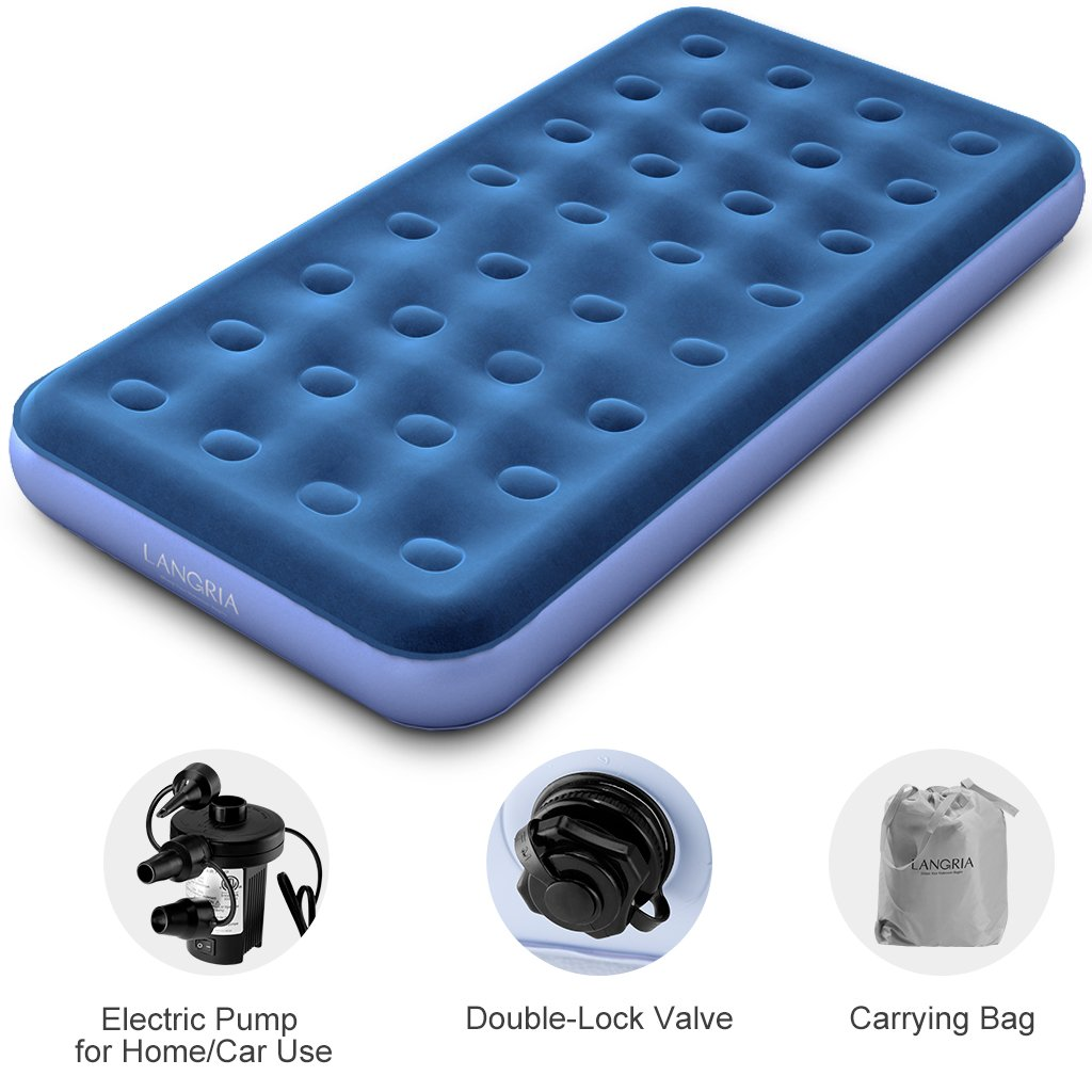 LANGRIA Upgraded Twin Size Inflatable Air Bed 8.5-Inches Air Mattress Bed with Handheld Electric Pump Storage Bag and 2 Power Adapters and Repair Kit (74 x 39 x 8.5 inches, Blue)