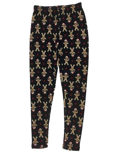 640e0de5c18ca6 Amazon.com: No Boundaries Junior Womens Blue Gingerbread Man Heart Fleece  Lined Christmas Holiday Leggings: Clothing