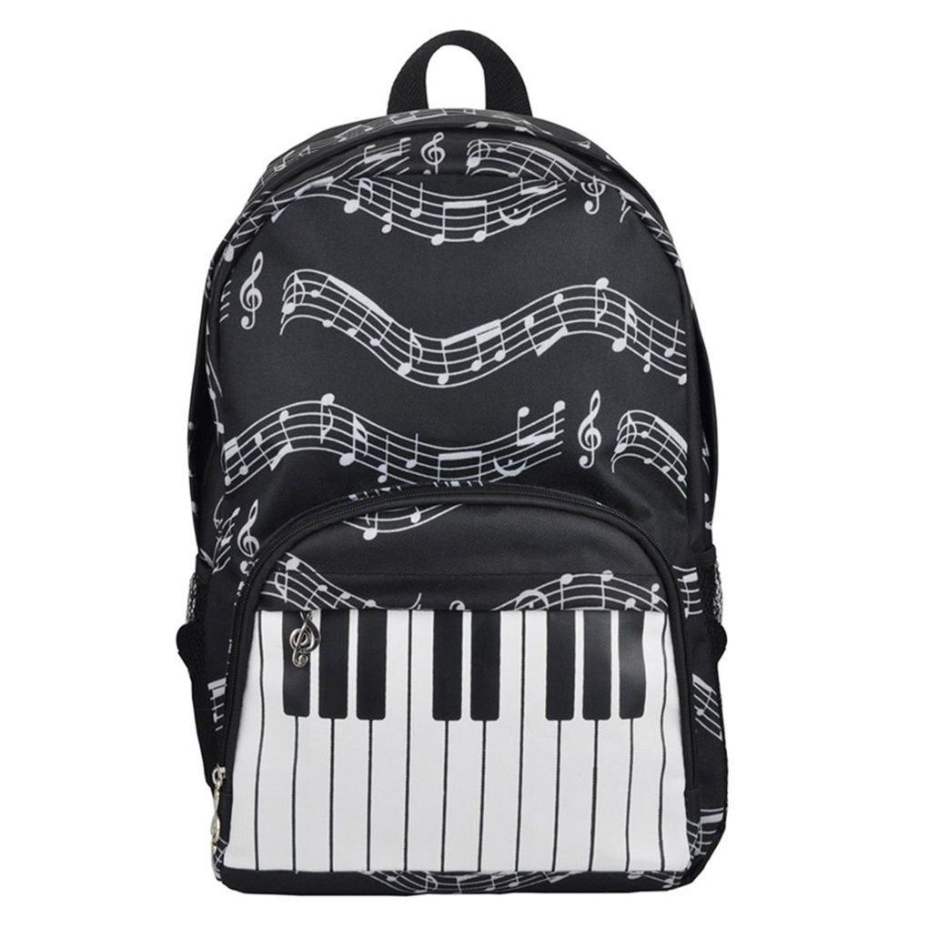 Clavier de piano Imprimé Note de musique Hommes Femmes Fille Durable Tissu Oxford Sac à dos Sac à dos école Voyage Republe