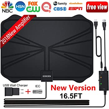... with Long 65-100 Miles Range with Adjustable Amplifier Signal Booster 4K 1080P HD Life Local Channels Support All TVs -16.5ft Coax Cable/Power Adapter