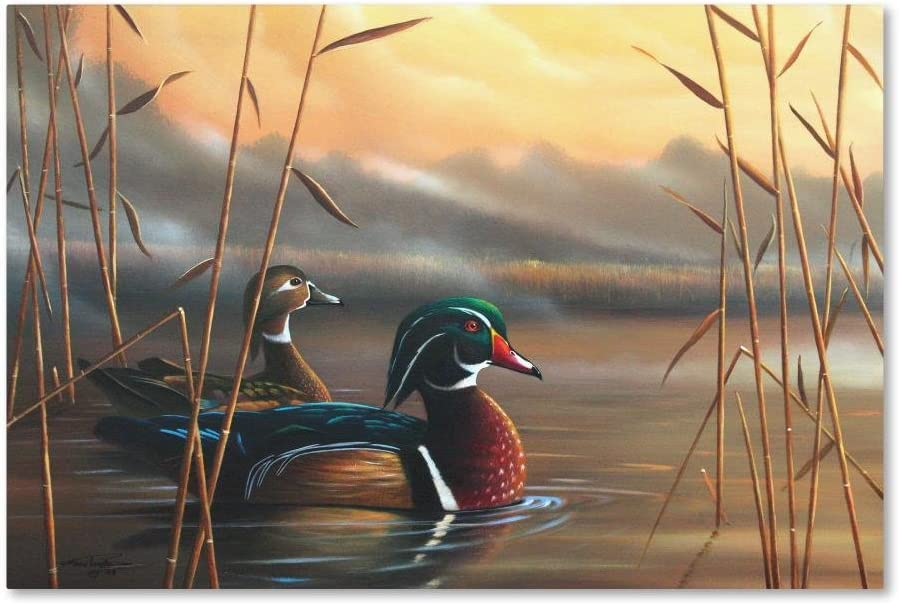 Wood Ducks by Geno Peoples, 16x24-Inch Canvas Wall Art