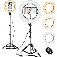 Pierścień świetlny ze statywem 10 cali, lampa pierścieniowa do selfie, 3 tryby kolorów i 10 jasności, do selfie, vlog…
