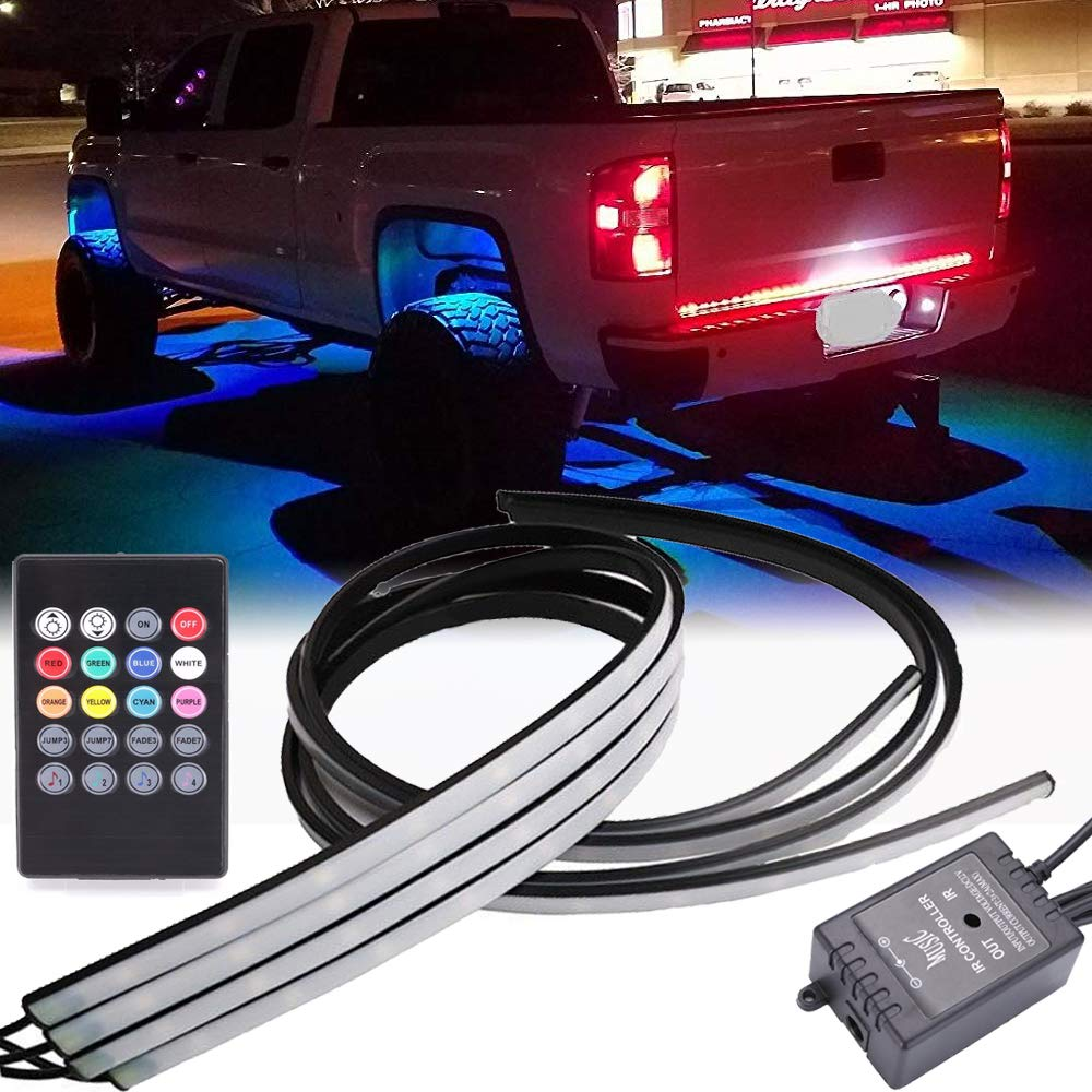 Gtp Car Truck Underglow Underbody System Neon Strip Rgb Led Light Strips Multi Color Lighting Kit W Sound Active Function And Wireless Remote Control