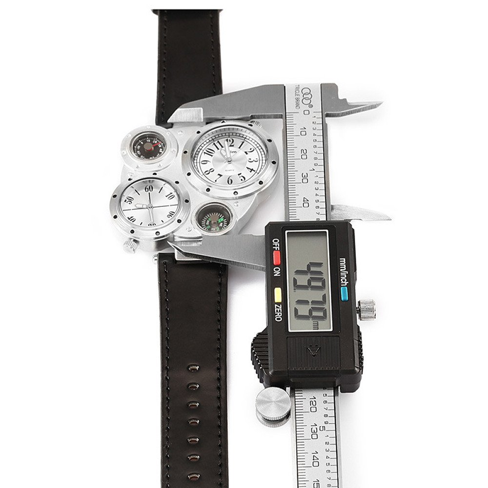 1d898c252b Amazon | Oulm 9415メンズ多機能デュアルタイム表示2ダイヤルウォッチ温度計とコンパス(ホワイト) | メンズ腕時計 | 腕時計 通販