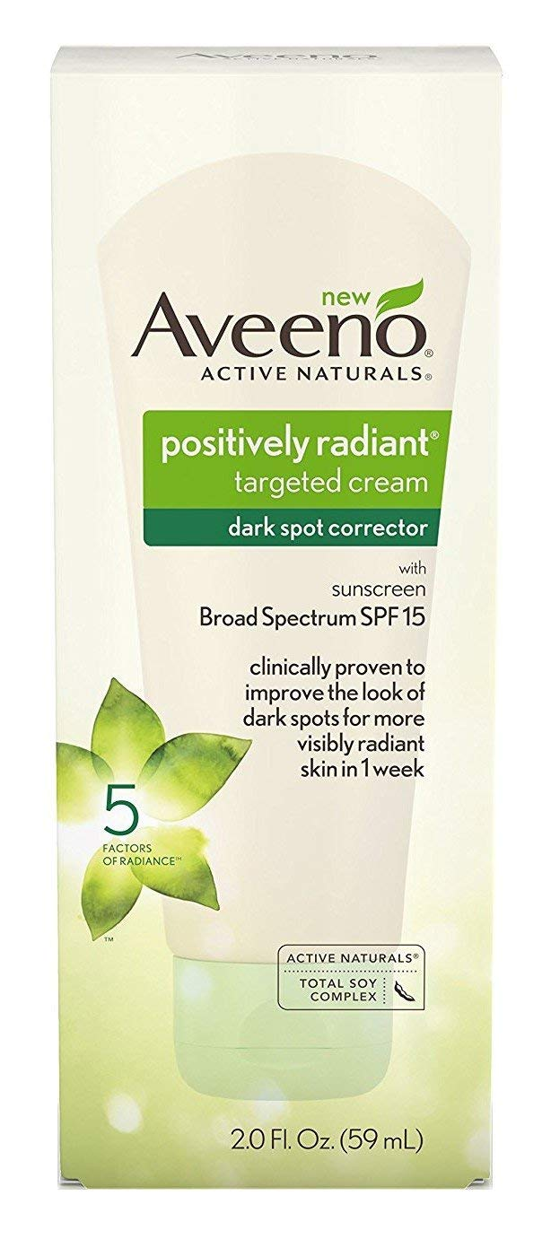 Aveeno Positively Radiant Targeted Cream Dark Spot Corrector with SPF 15 Sunscreen & Moisture-Rich Soy Complex, Oil-Free, Hypoallergenic & Non-Comedogenic, 2.0 fl. oz (Pack of 2)
